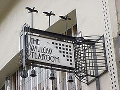 The Art Deco Sign for The Willow Tea Room in Glasgow