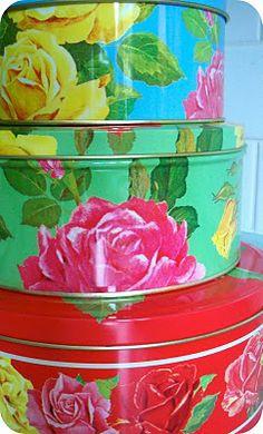 Colourful cake tins