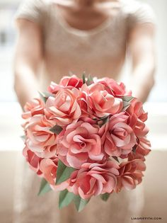 DIY Paper Rose Wedding Bouquet. This is so pretty!