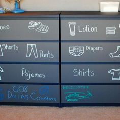 Another great use for chalkboard paint. Toddler Room Dresser {Getting Dressed}