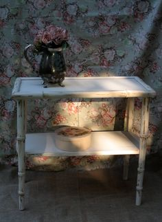 Antique Ivory Table Faux Bamboo Hollywood Regency by Fannypippin,