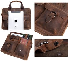 "Vintage Handmade Crazy Horse Leather Briefcase / Satchel / 12"" 13"" Laptop 11"" 13"" MacBook Bag"