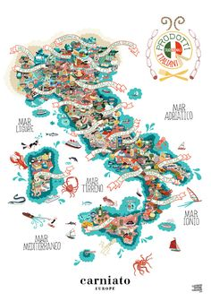 Illustrated map of Italy and its food products.