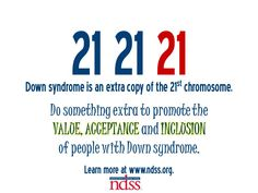 The most common form of Down syndrome, Trisomy 21, is characterized by a third copy of the 21st chromosome. Learn more at www.ndss.org.