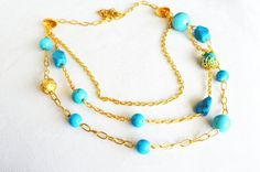 turquoise necklace natural stone necklace turquoise blue gemstone necklace long necklace mothers day gift ideas gold plated 16k jewelry gift on Etsy, 69,00$