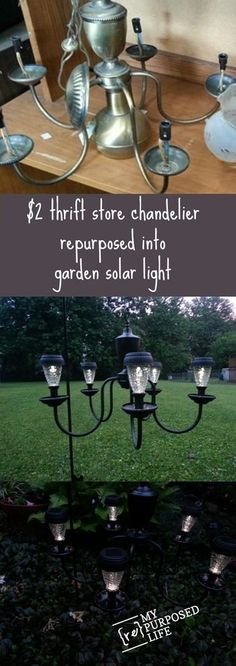 I Love this thrift store chandelier repurposed into a patio or garden solar light by My Repurposed Life