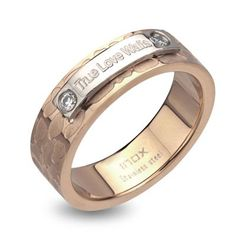 """True Love Waits"" Crystal Accent Purity Ring in Stainless Steel with Rose Ion-Plate - Zales"