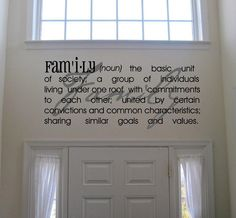 """Beautiful """"family"""" definition wall vinyl - perfect for over an entryway!"""