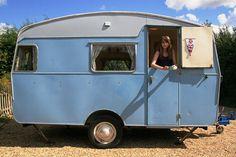 "Blue Vintage Caravan ""Polly Dolly"""