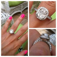 Custom Engagement Ring - 2.42 Cushion Cut Diamond with Pave Halo and Band