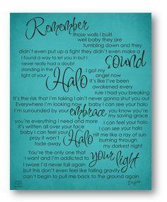 Halo / Beyonce / Lyric / DIGITAL Typograpy Poster / Printable
