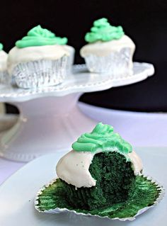 Green Velvet Cream Cheese Cupcakes with Mint Buttercream