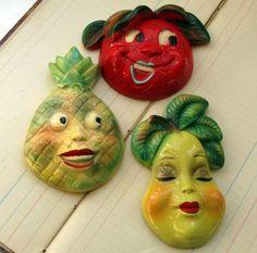 Vintage anthropomorphic fruit chalkware plaques :)