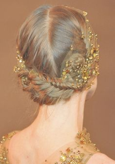golden halo intertwined in a braided updo