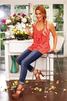 LC Lauren Conrad collection's Ruffle Front Tank. Want this whole outfit. :)