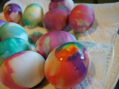 Neat & Easy Tie-Dyed Easter Eggs by anappetiteforjoy #Easter_Eggs #Crafts