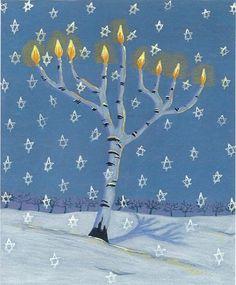 Tree of Light Menorah notecard Hannukah