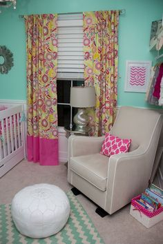 Cute #retro floral curtains in this #tiffanyblue #nursery.  #hotpink #yellow