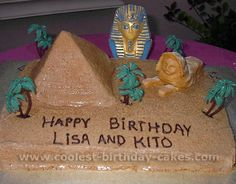 Pyramid and sphynx cake