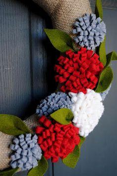 diddle dumpling: Simple Valentine's Day Wreath christmas wreaths, christma wreath, felt wreath, pretti wreath, flower