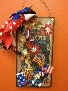 """""""Free Shipping""""  ... Hand embellished  Patriotic 4th of July Sign by HaileyHarrison on Etsy ... $19.99"""