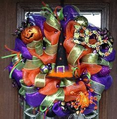 Deco Mesh WITCH'S HAT HALLOWEEN Wreath by decoglitz on Etsy
