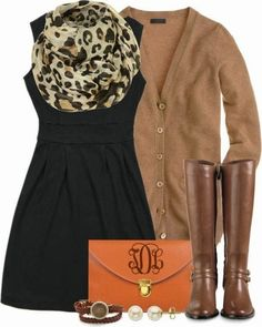 Black dress, leopard scarf tan cardigan and brown boots--monogrammed clutch
