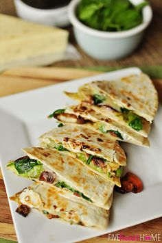 Spinach and Mushroom Quesadillas with Avocado and Pepper Jack Cheese ~ meatless dinner idea for Lent or any night   FiveHeartHome.com