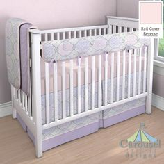 Baby Girl Crib bedding in Pink Circles, Solid Pink, Lilac and Pink Nyle, Solid Lilac. Created using the Nursery Designer® by Carousel Designs where you mix and match from hundreds of fabrics to create your own unique baby bedding.