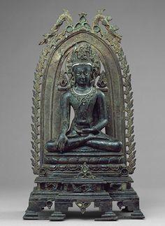 Seated Crowned and jeweled Buddha, Pala period (ca. 700–1200), late 10th century; Kurkihar style  Bihar, India