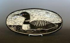 Jon Loer 2014, White earthenware with sgrafitto design,