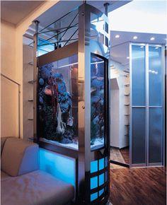 Love It! Room dividers, contemporary interior design ideas, aquarium light, unique large aquarium design