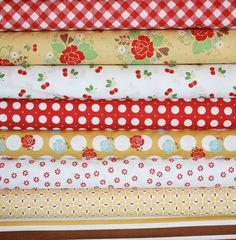 sew cherry by lori holt in red/yellow