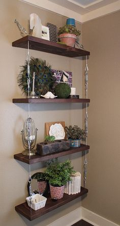 love her ideas generally and especially these hanging shelves
