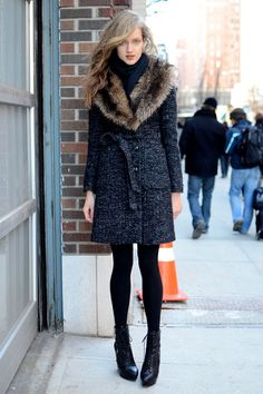 A fur collar elevates any regular wool coat.