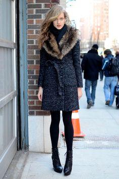 A fur collar elevates any regular wool coat.