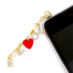 Dangling Crystal Love Charms Cell Phone Plug by Icing