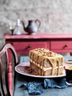 Coffee and walnut cake revamped with espresso, candied walnuts, and walnut cream. #recipe