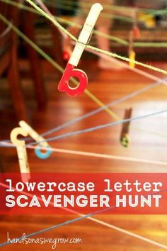 What child wouldn't love climbing through a web of string on a cold, Fall day inside? And for a scavenger hunt no less? #letterawareness