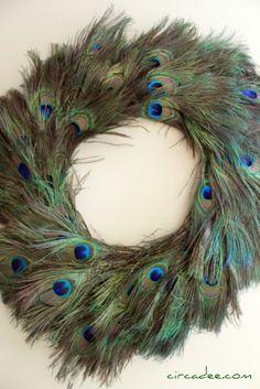 peacock feather wreath diy; circadee.com peacock feathers, peacock wreath, friends, feather wreath, craft idea, diy project, pepper, bedrooms, owls