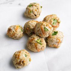 Mini Turkey Meatballs              Applesauce makes these healthy, veggie-filled meatballs extra moist. Make them with sweet potatoes or carrots and ground turkey or beef