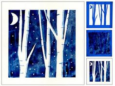 Use blue painter's tape to design your winter scene.  Next, use dark blue watercolor over the tape. Finally, peel off tape. Ta-da! Fun winter art.