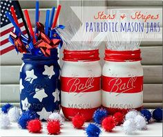 Patriotic Mason Jars to house utensils for your party