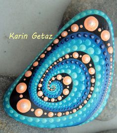 painted rocks painted stones blue spiral by KarinGetazArt on Etsy