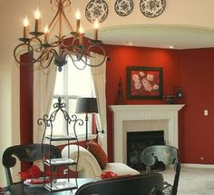 Red Family Room - traditional - family room - chicago - by Julea Reinventing Space