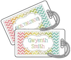 Set of 2 Personalized Bag Tags Laminated  by PaperDollPrinting, $10.00