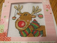 Blogger Rebecca made this cute Rudolph Christmas card - he was our freebie stitch kit with issue 210 of the mag. Isn't he jolly?