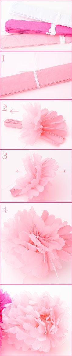 DIY de Bodas: Como hacer pompones de papel de dos colores