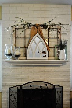 White and Green Spring Mantel