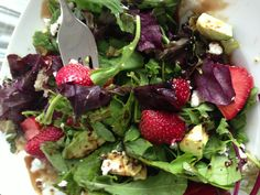 Easiest summer salad. Baby spinach, mixed field greens, strawberries ...
